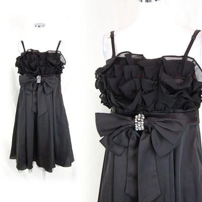 新品 キャバドレス ミニドレス パーティドレス 胸フリル リボン フレア Mサイズ