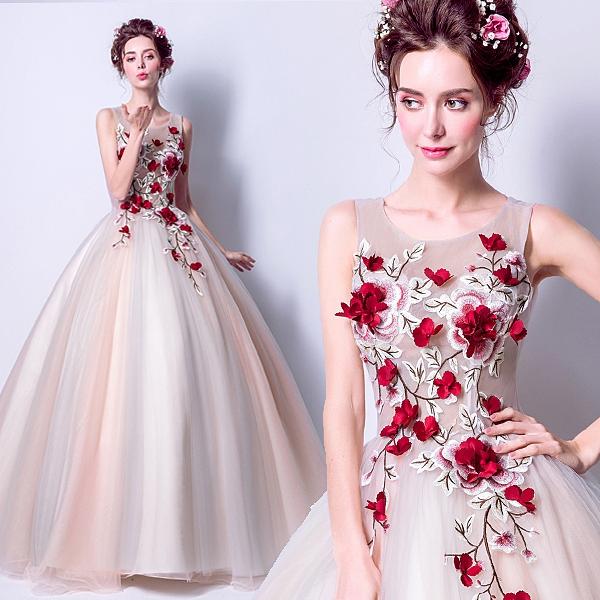 降價兩天 晚宴洋裝 華麗爛漫歐美晚宴服 深色紅花朵刺繡新娘婚紗禮服晚宴敬酒服