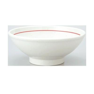 【白鳳 粉引赤ライン 玉高台7.0丼 10個入 】【業務用】