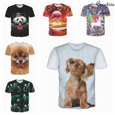 6タイプ 創意デザイン おもしろ メンズ tシャツ 半袖 夏 ファッション 動物風 男女 tシャツ 3D高品質プリント