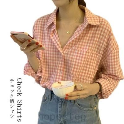 長袖チェック柄シャツ チェック柄 長袖シャツ チェックシャツ 長袖 シャツ ブラウス シャツ レディース レディースシャツ チェック カジュアルシャツ