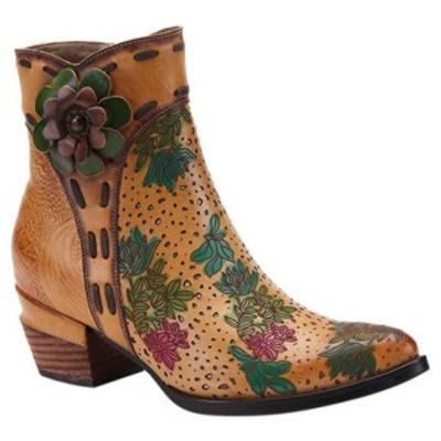 スプリングステップ レディース ブーツ&レインブーツ シューズ Canter Floral Ankle Bootie Tan Hand Carved/Handpainted Leather