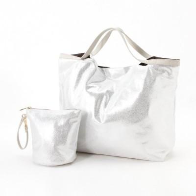バッグ カバン 鞄 レディース 小さくたためる スエード風ポケッタブルトート カラー 「シルバー」