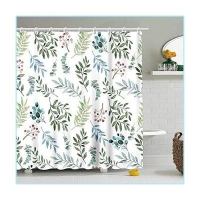 """新品Stacy Fay Fabric Shower Curtain Curtains with Hooks Green Leaves Watercolor Floral Botanical Artistic Botany Bouquet Branch 72""""X72"""" Wa"""