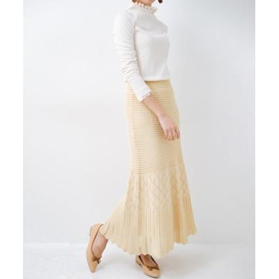 (haco!/ハコ)単品はもちろん重ね着してもかわいさが増す!透かし編みマーメイドスカート/レディース アイボリー
