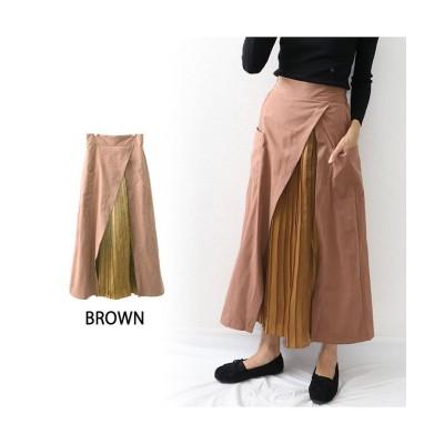 【オウンコード】 プリーツドッキングスカート レディース ブラウン M OWNCODE