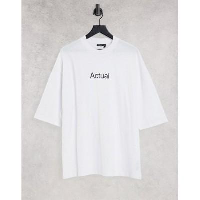 エイソス メンズ シャツ トップス ASOS Actual oversized T-shirt in white with printed logo
