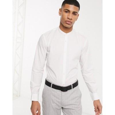 フレンチコネクション メンズ シャツ トップス French Connection plain grandad collar slim fit shirt White