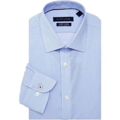 トミー ヒルフィガー Tommy Hilfiger メンズ シャツ トップス Slim-Fit Pinstripe Dress Shirt クリア ウォーター