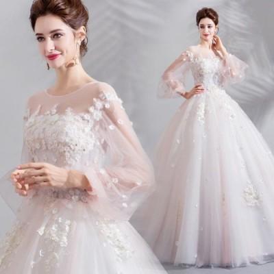 ANGEL 肌透け チュール レース フラワー パール 七分袖 プリンセス Aライン ロングドレス ホワイト 白 ピンク