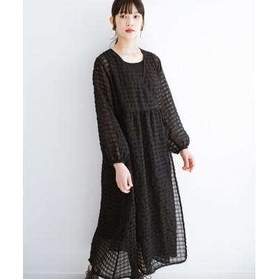 【ハコ】 羽織としても便利!シアー素材で女っぽいかわいいカシュクールワンピース&インナーセット レディース ブラック S haco!