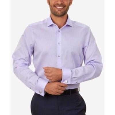 カルバンクライン メンズ シャツ トップス Men's Slim-Fit Non-Iron Performance Herringbone French Cuff Dress Shirt Purple