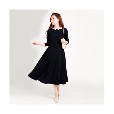MARTHA(マーサ) スカラップネックロングワンピース (ワンピース)Dress