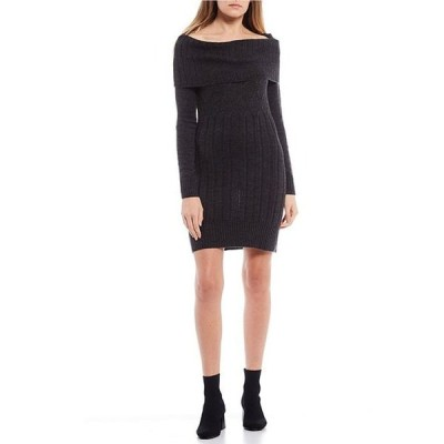I.N.サンフランシスコ レディース ワンピース トップス Long-Sleeve Off-the-Shoulder Cable Knit Sweater Dress