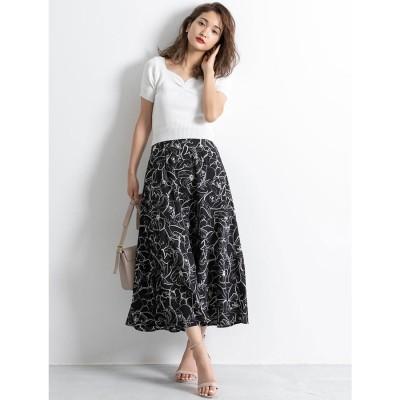 線花柄切り替えスカート ES21S0252
