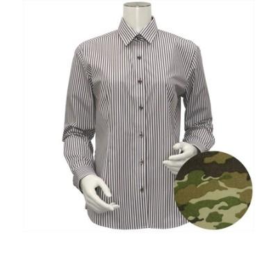レディース ウィメンズシャツ 長袖 形態安定 レギュラー衿 白×ブラウンストライプ