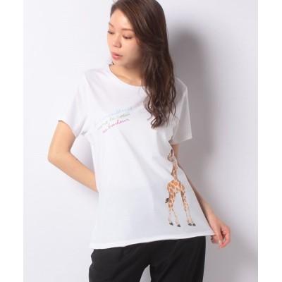 (CARA O CRUZ/キャラオクルス )【nach】キリンプリントTシャツ/レディース オフホワイト