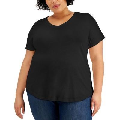 スタイルアンドコー カットソー トップス レディース Plus Size Solid Burnout T-Shirt, Created for Macy's Deep Black