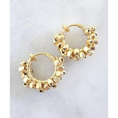 イヤリング 【marinaJEWELRY】14kgf/pti GOLD square metal*wrapped hoop earring