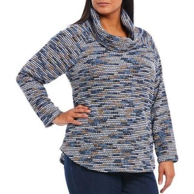 ルビーアールディー レディース Tシャツ トップス Plus Size Uneven Space Dye Boucle Cowl Neck Long Sleeve Hi-Low Pullover
