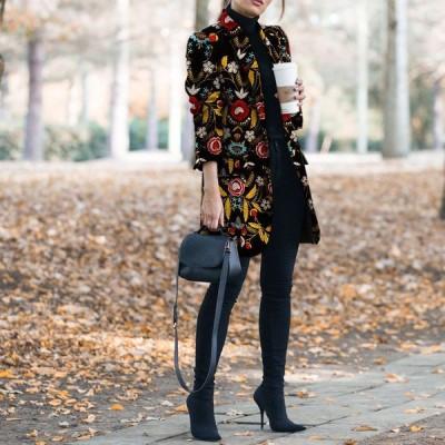 コートレディース 40代50代 上品 チェスターコート 花柄 ラシャ ロング 秋冬 きれいめ ビジネス スプリングコート