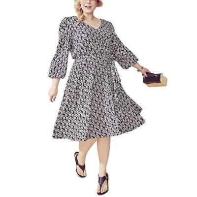 カルバンクライン ワンピース トップス レディース Plus Size Floral-Print A-Line Dress Black/Cream