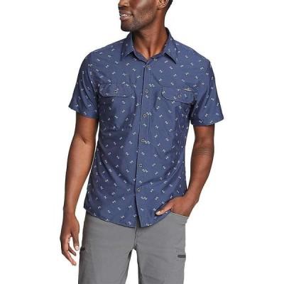 エディー バウアー Eddie Bauer Travex メンズ 半袖シャツ トップス SS Printed Mountain Shirt Indigo Blue