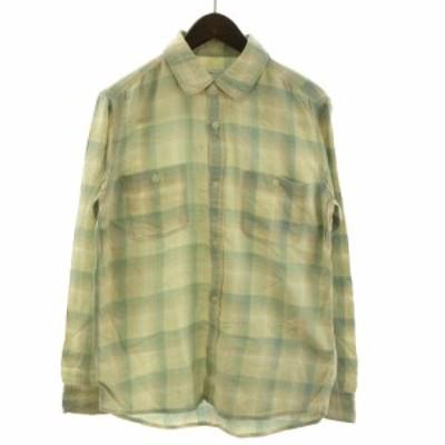 【中古】Ron Herman チェックシャツ 長袖 レギュラーカラー コットン L 緑 グリーン 系 ベージュ系  メンズ