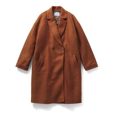 通勤コートの新定番! 中わたキルティング裏地付きのふんわり軽いチェスターコート〈ベイクドメープル〉 IEDIT フェリシモ FELISSIMO