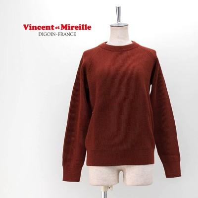 Vincent et Mireille ヴァンソンエミレイユ レディース 8ゲージ 畦編み クルーネックセーター(VM202WA13012)(2020FW)