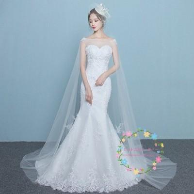 ウエディングドレス 安い 白 花嫁 結婚式 マーメイドラインドレス シンプル 二次会 レース ロングドレス パーティードレス 披露宴 大きいサイズ  wedding dress