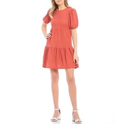 ミッドナイト ドール レディース ワンピース トップス Short-Sleeve Drop-Waist Flounce Hem Knit Dress