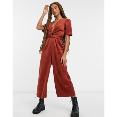 エイソス レディース ワンピース トップス ASOS DESIGN plunge knot front corduroy jumpsuit in brown