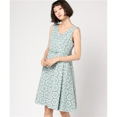 ドレス 《結婚式・お呼ばれ対応ワンピース・女子会》DorryDoll  花柄刺繍レース デコルテスカラ編みフレアーワンピース
