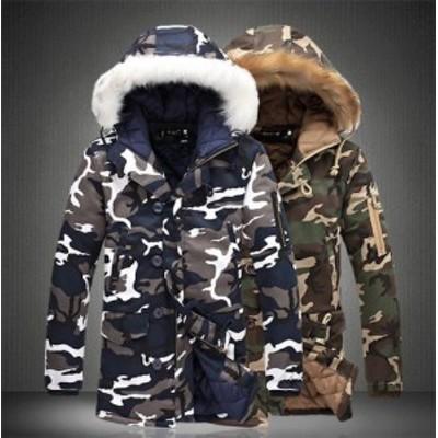 2020年 新作 送料無料 メンズ秋冬ミドル丈迷彩柄中綿ジャケット フード付き 中綿ジャケット 綿入り 厚手防寒アウター ブルゾン ブルゾン