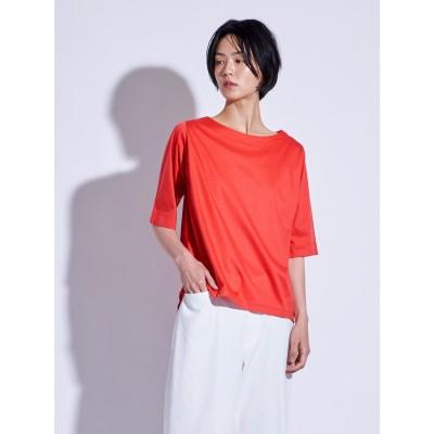 ラ エフ la f 【大人のための上質Tシャツコレクション】ボートネックカットソー (オレンジ)