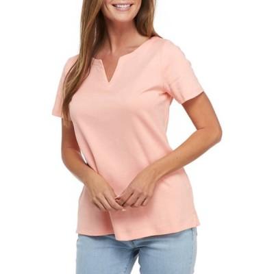 キム ロジャース レディース Tシャツ トップス Women's Short Sleeve Split Neck Top