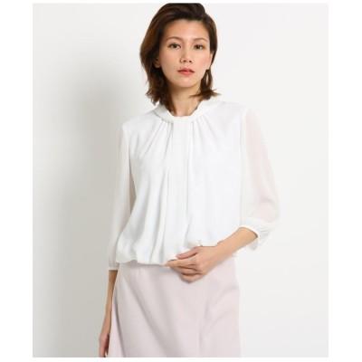 【洗える】シルシフォンボウタイシャツ