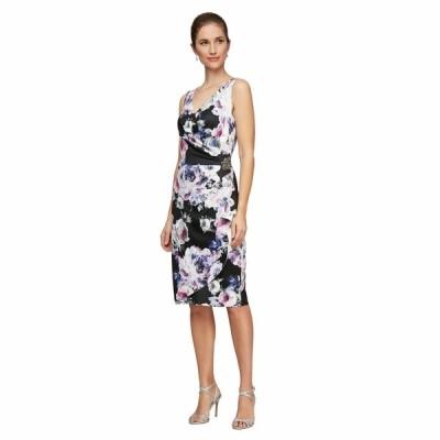 アレックスイブニングス ワンピース トップス レディース Short Sleeveless Printed Sheath Dress Black Multi