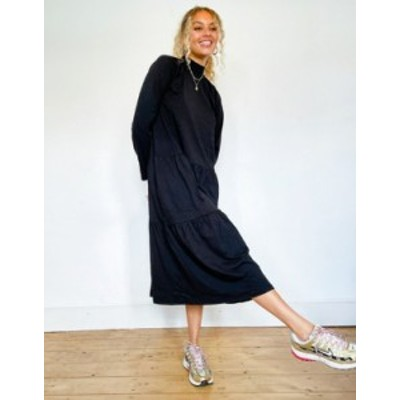 エイソス レディース ワンピース トップス ASOS DESIGN smock midi dress with tiered hem in black Black