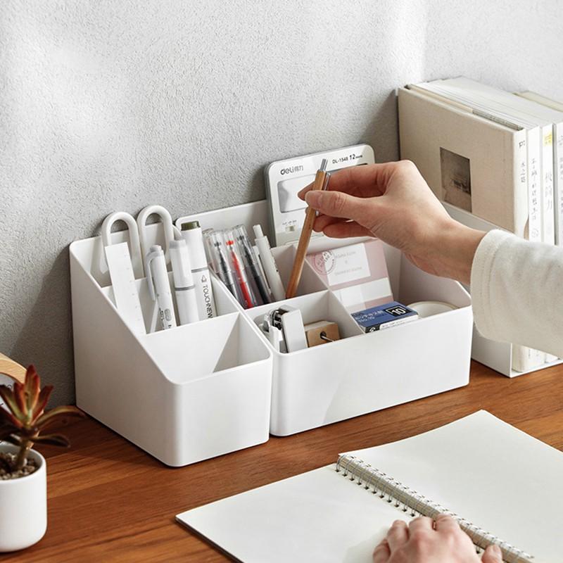 階梯式純白收納盒 三格 四格 無印風 斜面式收納盒 多功能收納 桌面收納 化妝品【RI2664】《Jami》