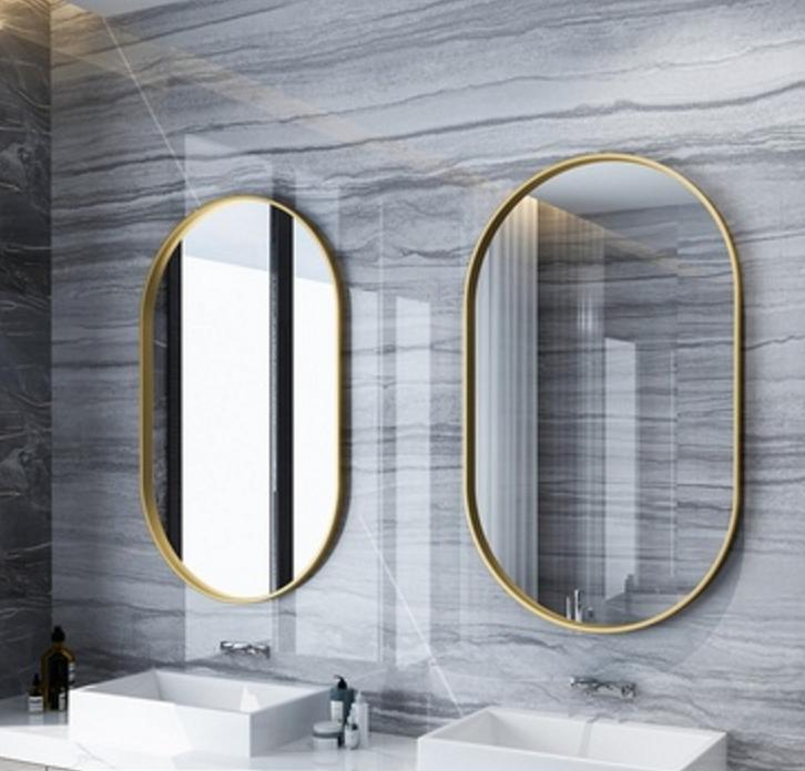 鏡子60*120cm 化妝鏡 浴室鏡 北歐衛生間鏡子 壁掛浴室鏡梳妝洗手間鏡臥室鐵藝橢圓長條上下半圓