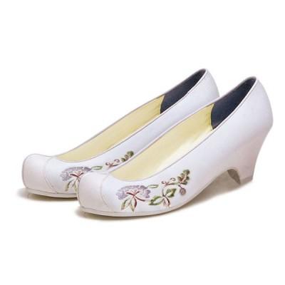 チマチョゴリ韓服の靴 タンポポ刺繍コッシン    8白