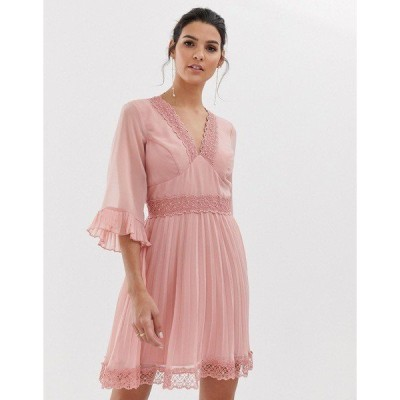 エイソス レディース ワンピース トップス ASOS DESIGN pleated mini dress with lace inserts Rose pink