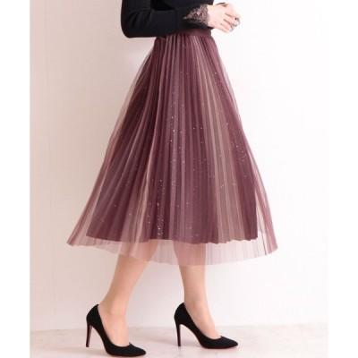 スカート ラメ付きリバーシブルのチュールプリーツスカート