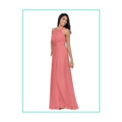 Alicepub Chiffon Bridesmaid Dresses Long for Women Formal Evening Party Prom Gown Halter, Coral Pink, US12並行輸入品