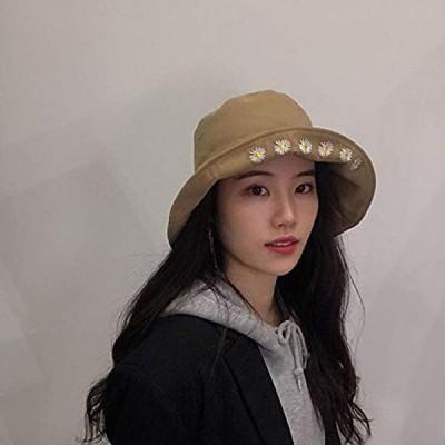 刺繍 UVカット 帽子 レディース バケットハット 漁夫帽 紫外線対策 大きい 折りたたみ MDM(B-カーキ, 頭周り 約56-58cm)