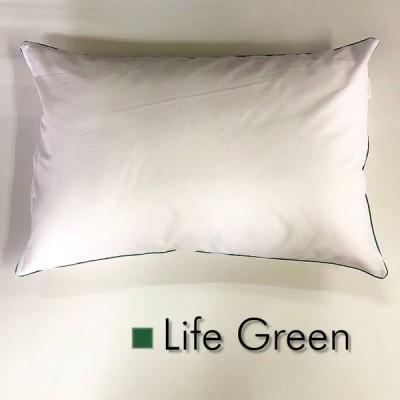 Sサイズ枕カバー【ライフ グリーン】緑パイピング/ピロケース/35cm×50cm/ポイント消化♪