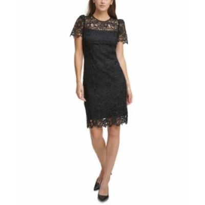 カルバンクライン レディース ワンピース トップス Lace Sheath Dress Black