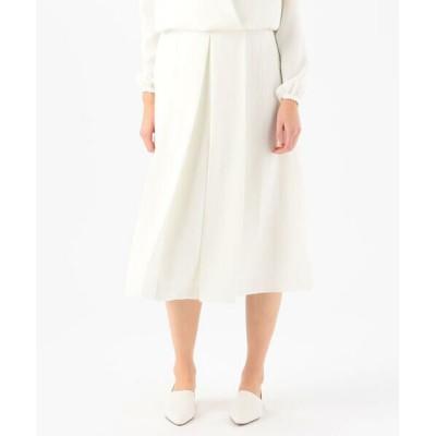 TOMORROWLAND/トゥモローランド MAISON GUILLMETTE ポリエステル タックドミディスカート 11 ホワイト M
